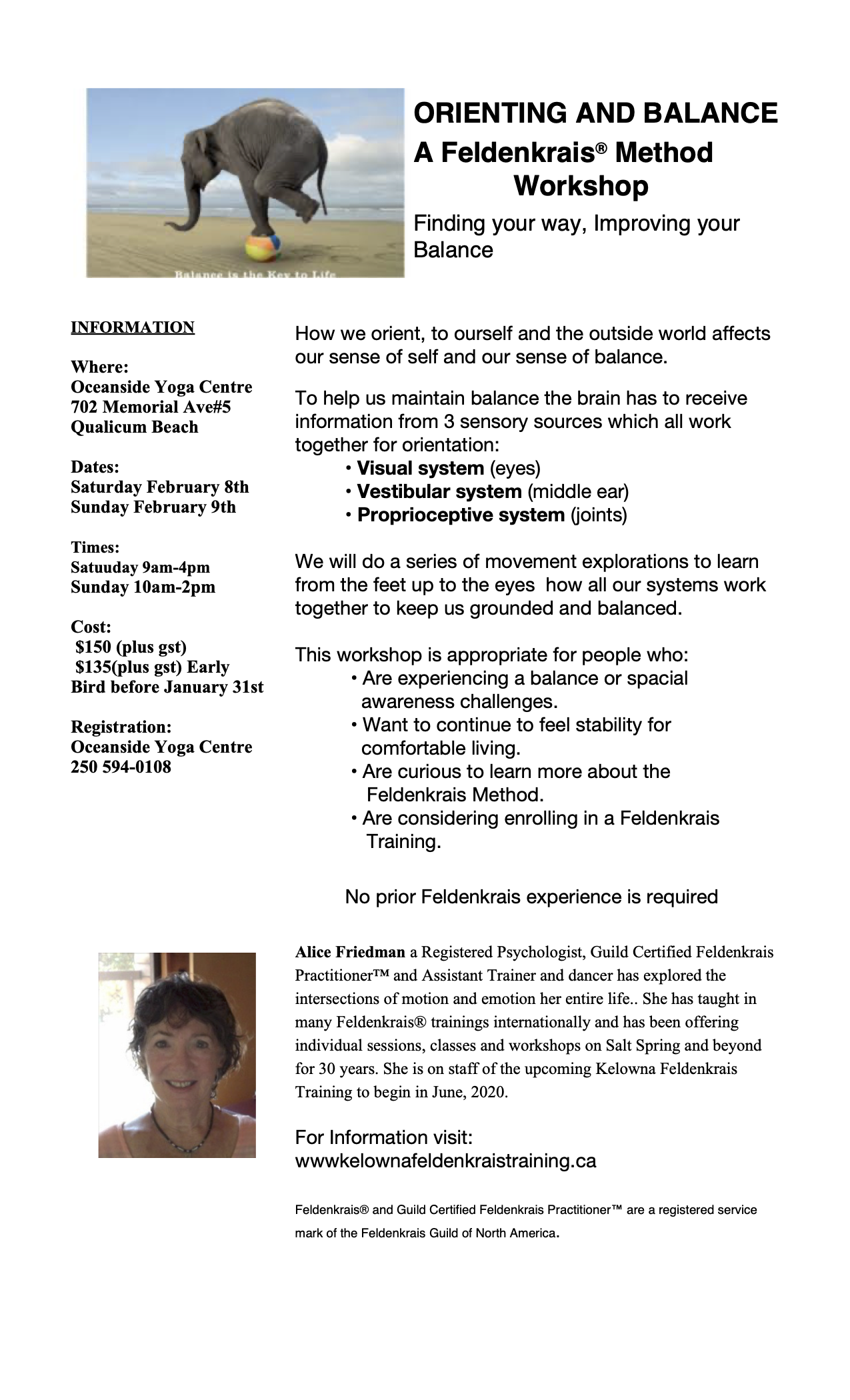 Qualicum Yoga Center Feldenkrais course